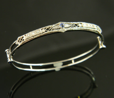 Antique Style Sapphire and Diamond Bangle Bracelet