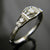 14k White Gold Handmade Three Stone Engagement Ring