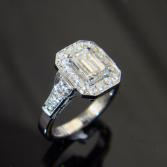 14k White Gold Emerald Cut Diamond Engagement Ring with Halo