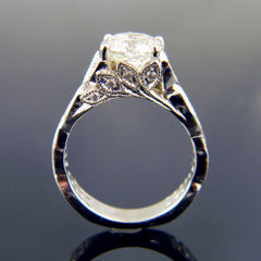 14k White Gold Engagement Ring with Infinity Style Sides