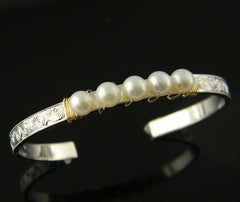 Pearl Hand Engraved Sterling Silver and 14K Yellow Gold Bracelet