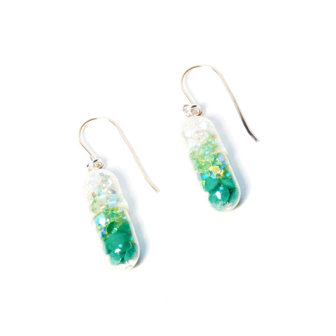 Green Gradient Pill Earrings