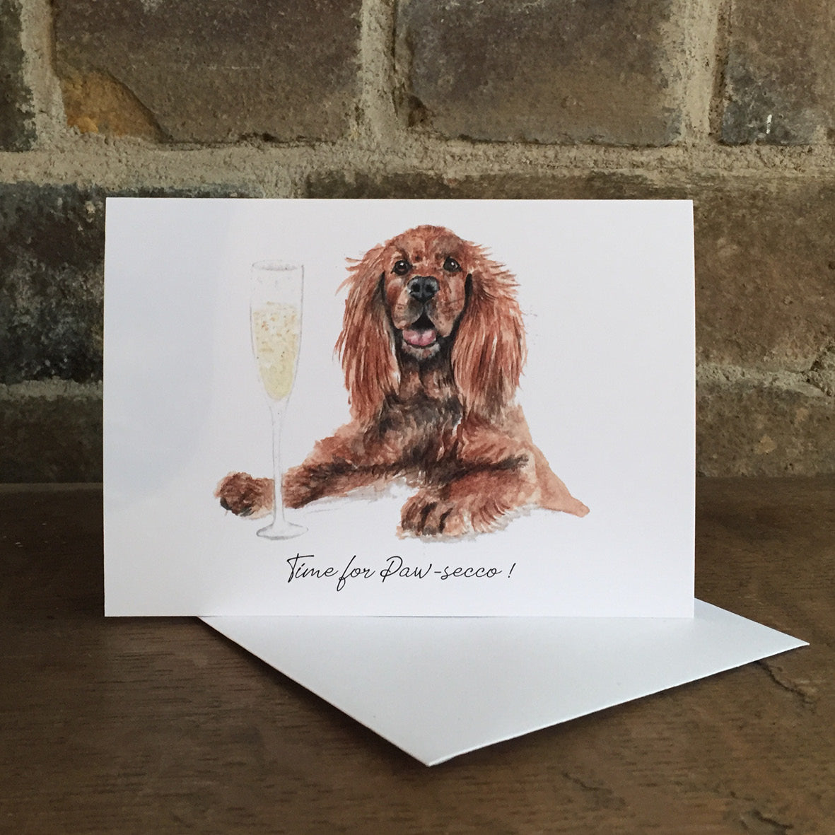 Time for Paw-secco Greeting Card - Celebration card