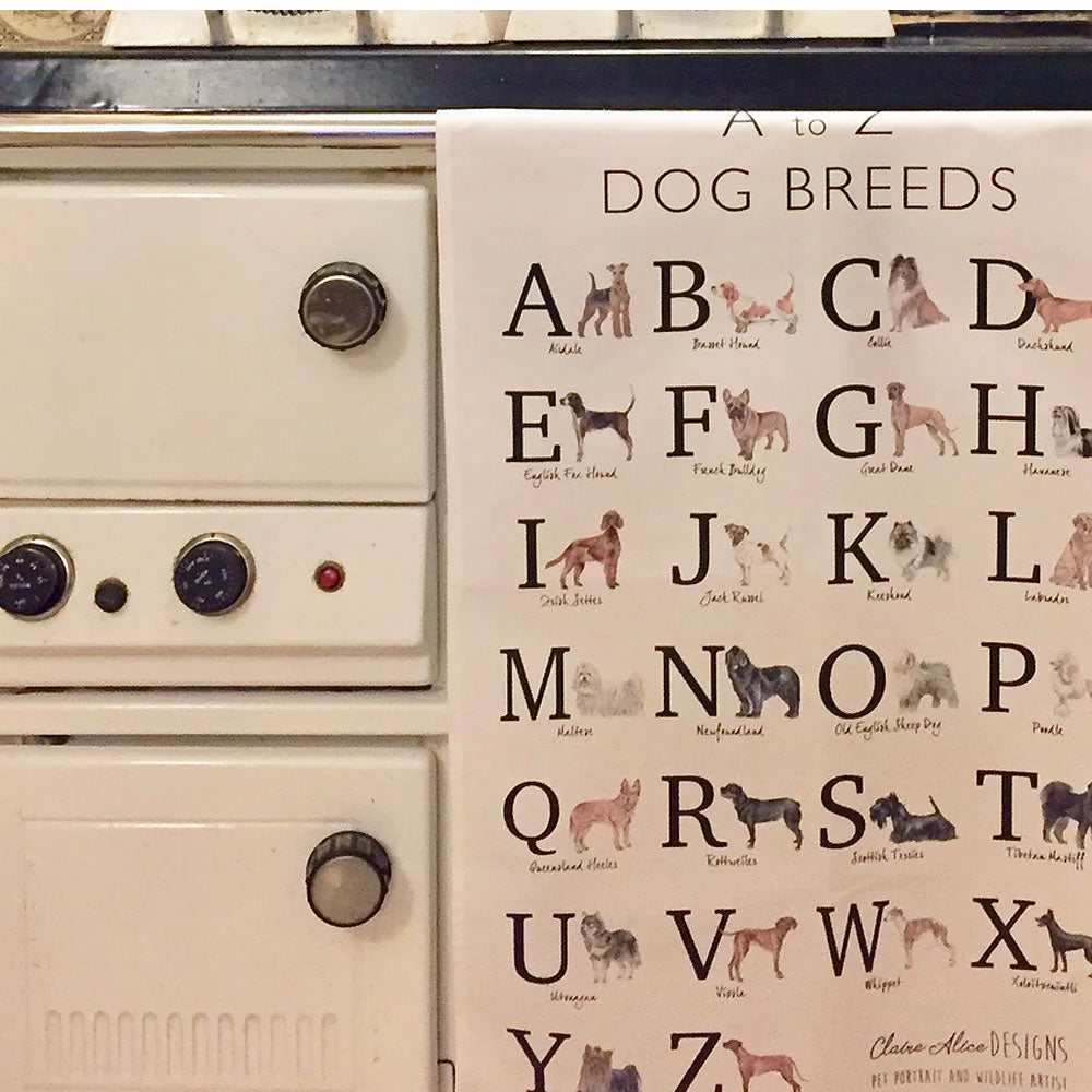 A to Z of Dogs Tea Towel
