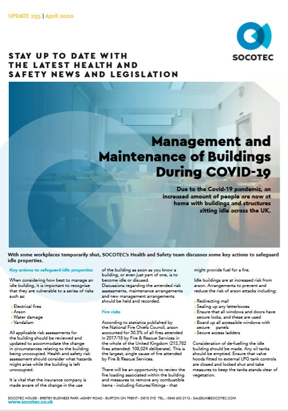 Managing and Maintaining Idle Buildings During Covid-19