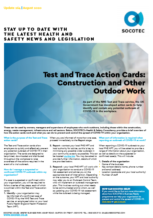 Test and Trace Action Cards