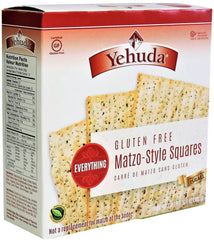 Yehuda - Gluten Free Matzo-Style Squares, Everything (Kosher for Passover) 10.5 Ounces.