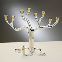 "Chanukah - Large ""Tree of Life""  Menorah - Silver-plate with Gold-tone Cups - MakoletOnline"