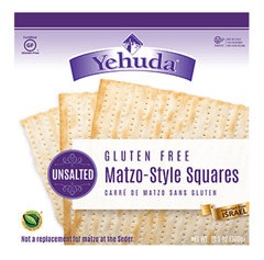 Yehuda - Gluten Free Matzo-Style Squares UNSALTED (Kosher for Passover) 10.5 Ounces.