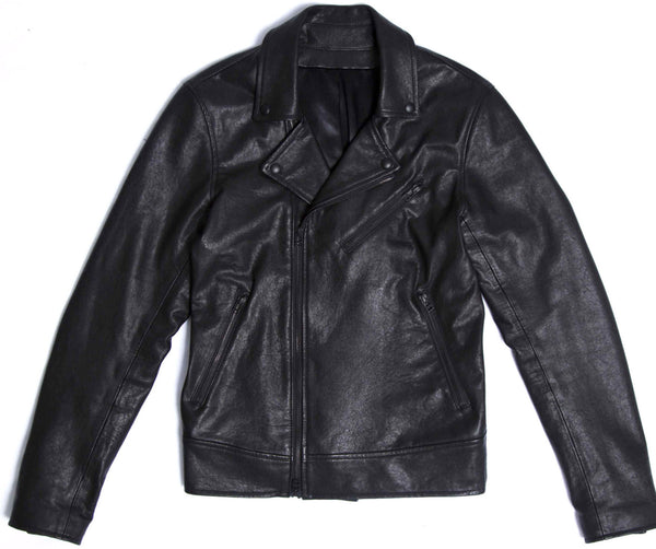 triple black Italian leather moto jacket made in Canada