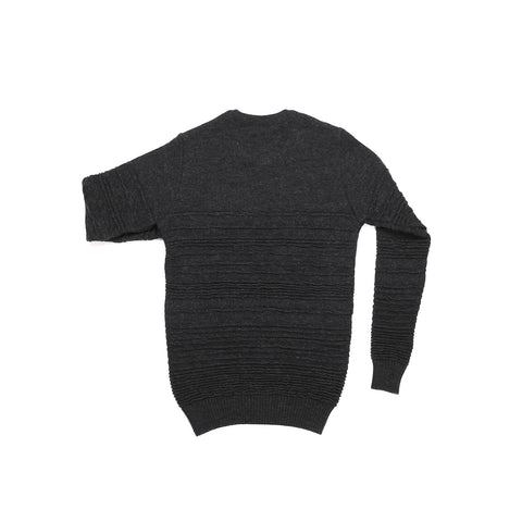MERINO WOOL CHARCOAL IRREGULAR STRIPE CREW NECK SWEATER