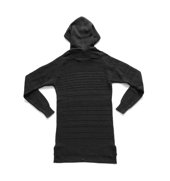 BLACK COTTON PIQUE PULLOVER HOODIE