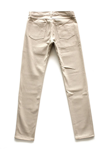 Khaki twill denim slim fit brushed cotton
