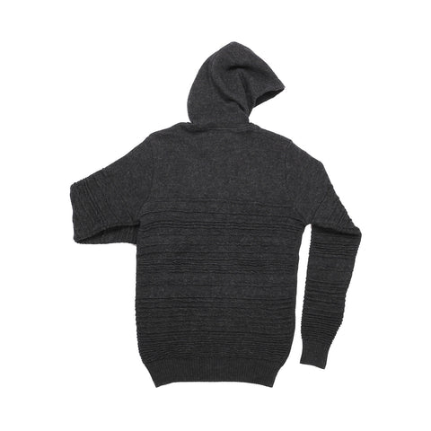 MERINO WOOL CHARCOAL IRREGULAR STRIPE HOODIE