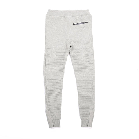 GREY MIX COTTON SWEATS WITH 5 ZIPPERS