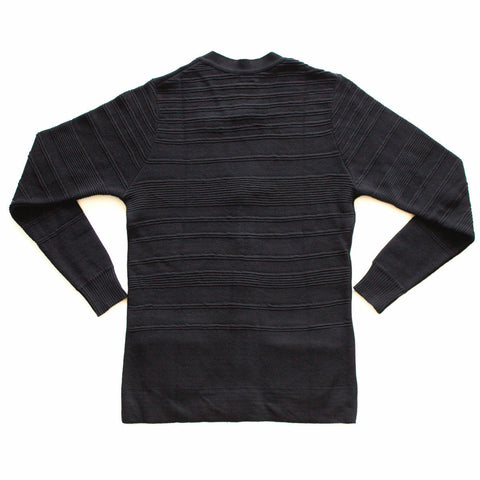 cotton pique cardigan in black with faded lifestyle irregular stripe