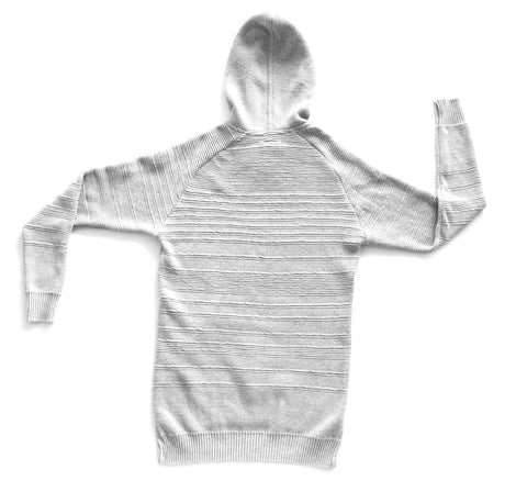 GREY MIX COTTON PIQUE PULLOVER HOODIE
