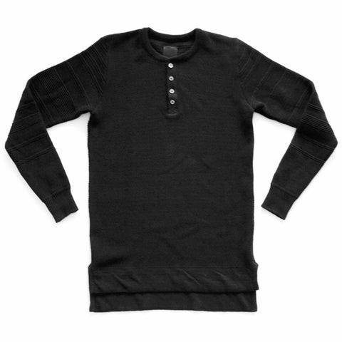 KNIT BLACK HENLEY 100% COTTON IRREGULAR STRIP