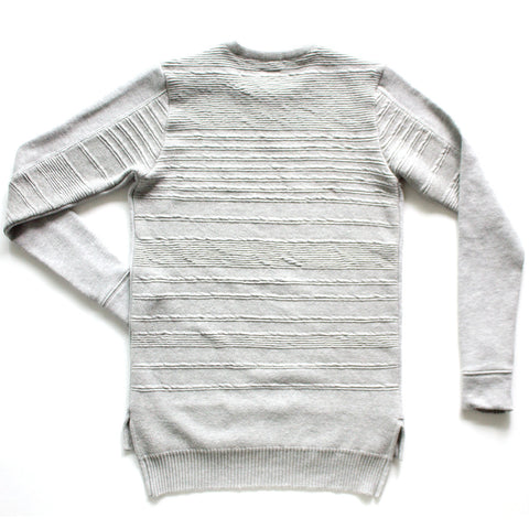 TERRY X KNIT IRREGULAR STRIPE PIQUE CREW