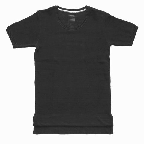 cotton pique knitted T-shirt in black with faded lifestyle irregular stripe