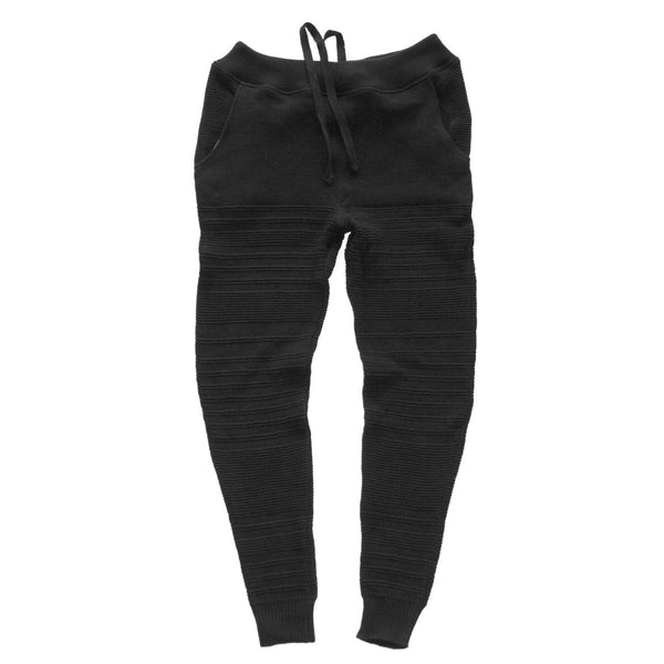 cotton pique knitted sweats in black with faded lifestyle irregular stripe