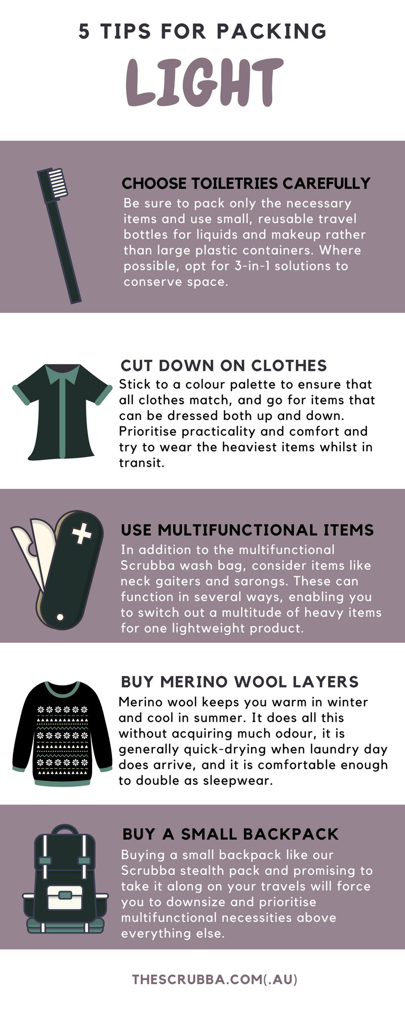 5 Tips for Packing Light Infographic