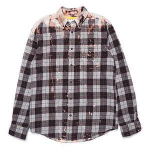 CAL-ALTA Van Club Vintage Flannel Shirt - Acid Drip Burgundy, Grey