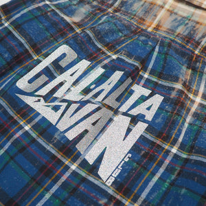 CAL-ALTA Van Club Vintage Flannel Shirt - Acid Drip Blue, Yellow, Black, Green, Red, White
