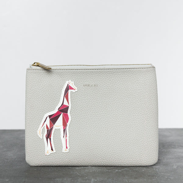 Zuri Travel Pouch with Aisha Giraffe - Cloud [Sample Sale]