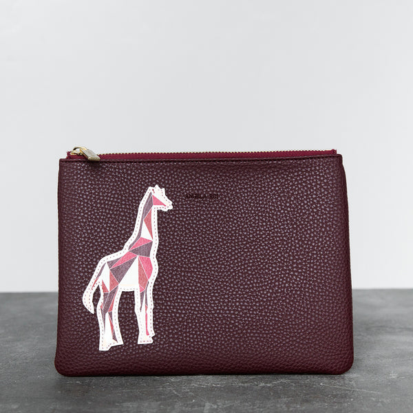 Zuri Travel Pouch with Aisha Giraffe - Bordeaux [Sample Sale]