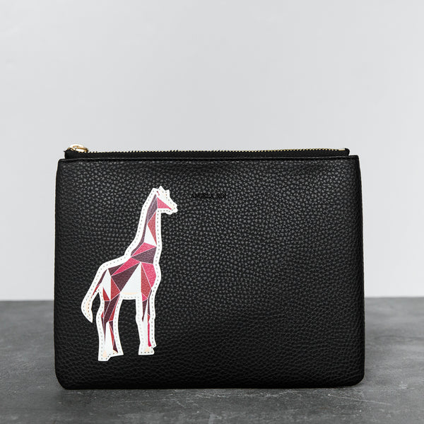 Zuri Travel Pouch with Aisha Giraffe - Black