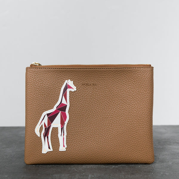 Zuri Travel Pouch with Aisha Giraffe - Russet