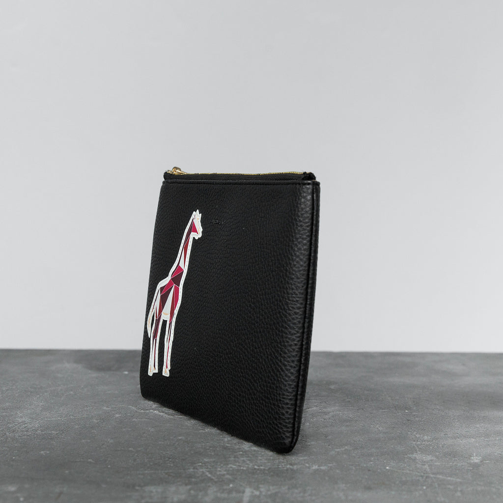 Zuri Travel Pouch with Aisha Giraffe - Black [Sample Sale]