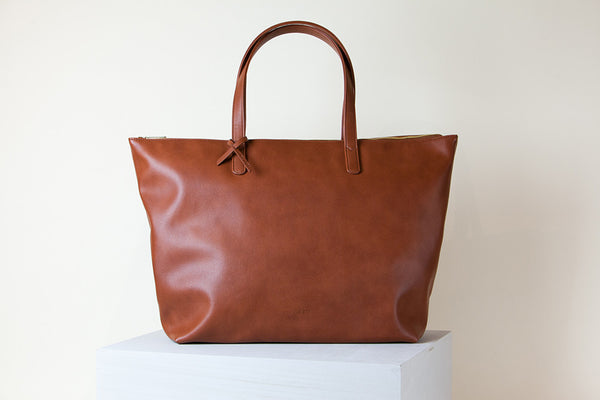 Andrea Oversized Tote - Orange Brown