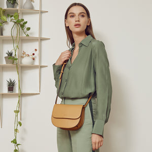 Hamilton Round Cross-body - Nude Emerald [Sample Sale]