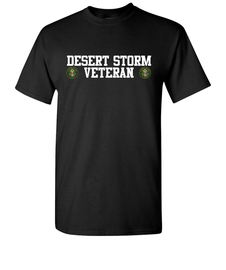 Desert Storm Vet Double White Army Short Sleeve T-Shirt - Black