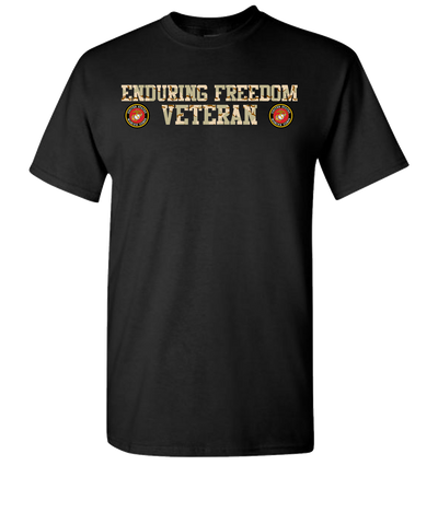 Enduring Freedom USMC 2 Camo Short Sleeve T-Shirt - Black