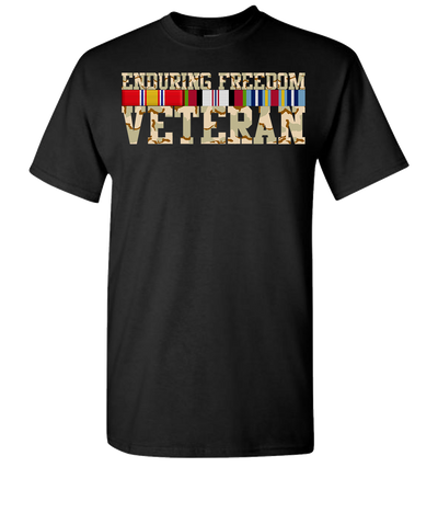 Endering Freedom Veteran with Ribbons Camo Short Sleeve T-Shirt - Black