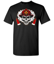 Firefighter Skull Short Sleeve T-Shirt - Black