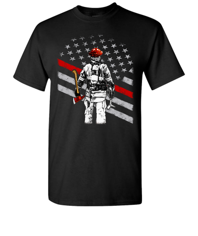 Firefighter Flag Short Sleeve T-Shirt - Black