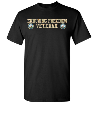 Enduring Freedom Navy 2 Camo Short Sleeve T-Shirt - Black