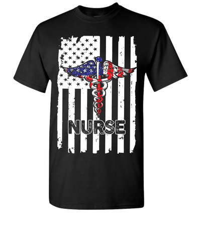 Nurse Flag Short Sleeve T-Shirt - Black