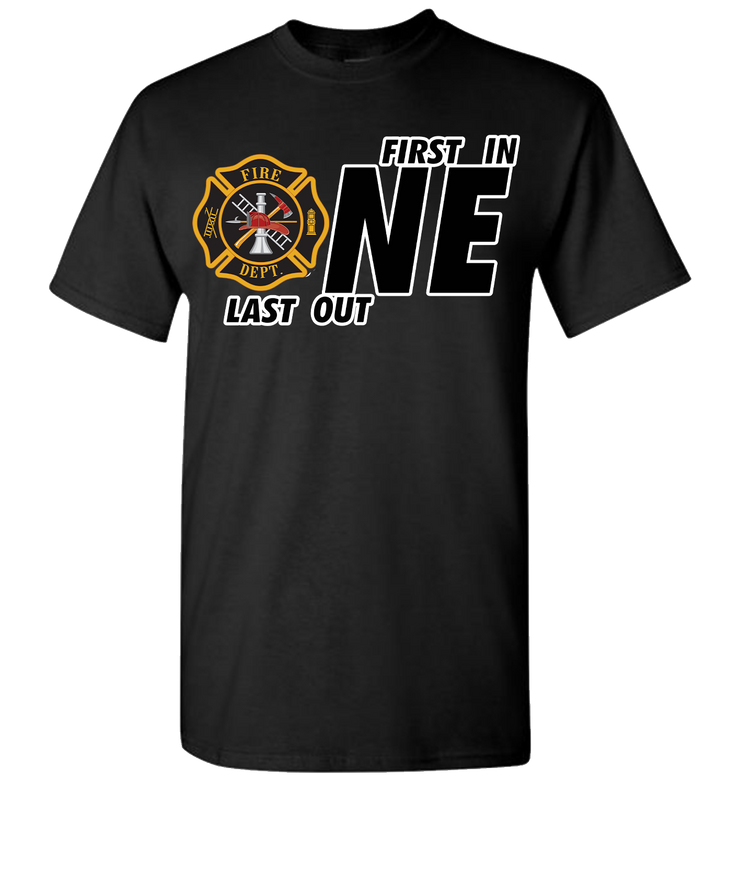 First One In Last One Out Fire Short Sleeve T-Shirt - Black
