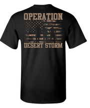 Desert Storm Flag and SIL with Words Short Sleeve T-Shirt - Black