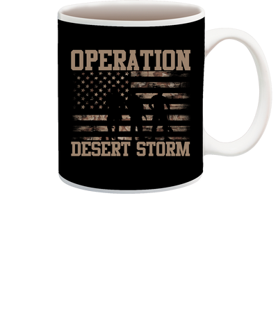 Desert Storm Flag and SIL with Words Cup
