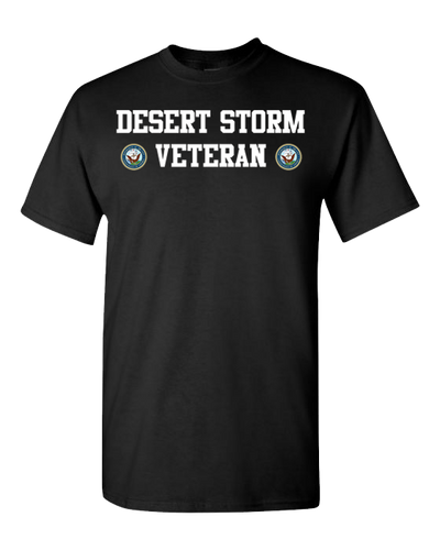Desert Storm Veteran Navy 2 White Short Sleeve T-Shirt - Black