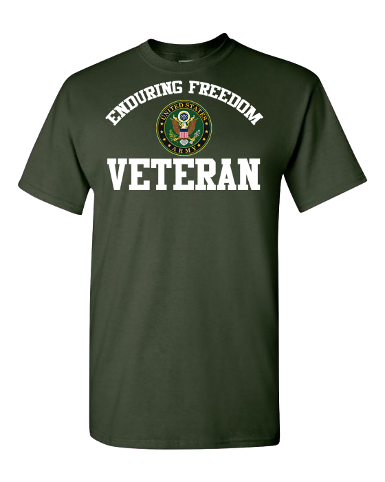 Enduring Freedom Veteran Army White Short Sleeve T-Shirt - Green