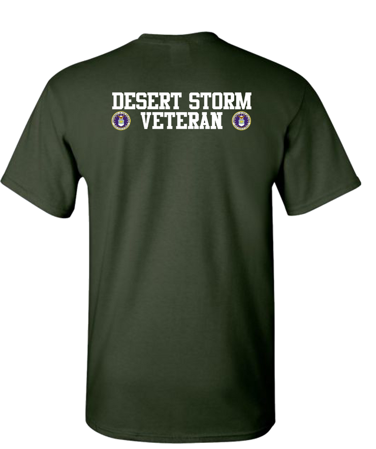 Desert Storm Vet Double White Air Force Short Sleeve T-Shirt - Green