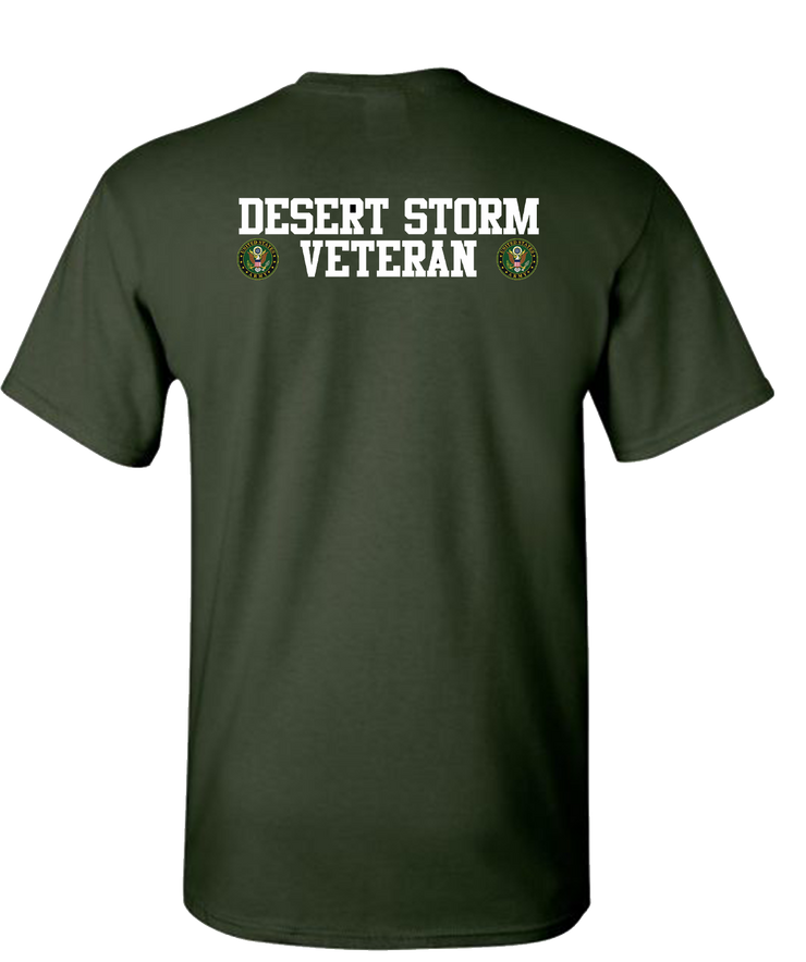 Desert Storm Vet Double White Army Short Sleeve T-Shirt - Green