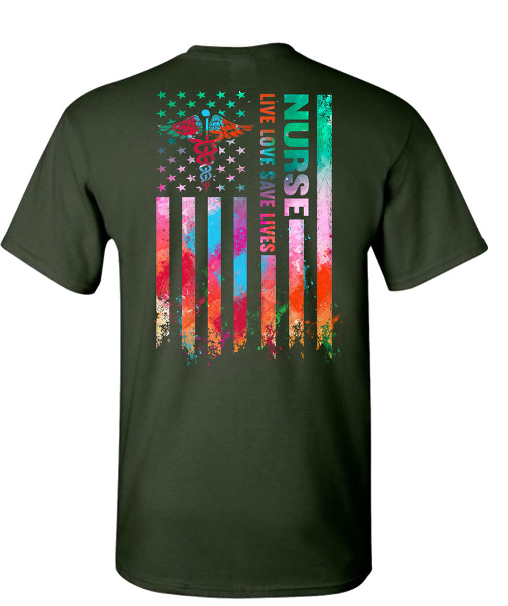Nurse Flag Color Short Sleeve T-Shirt - Green